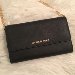 MICHAEL KORS Crossbody Wallet Black & Gold Chain